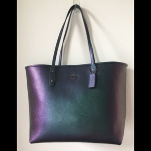 New Coach hologram leather tote -RARE